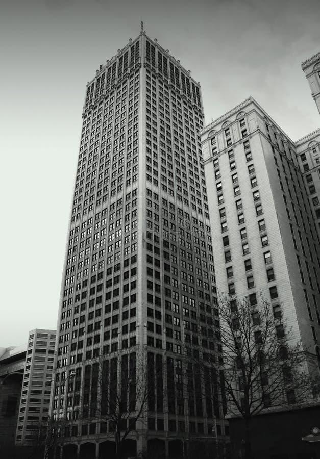 Edifícios históricos em Detroit da baixa fotos de stock