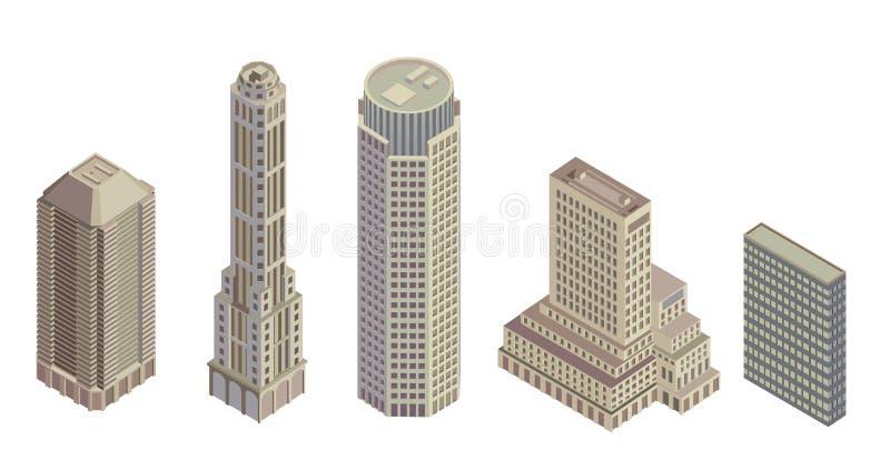 Edifícios isométricos ilustração stock