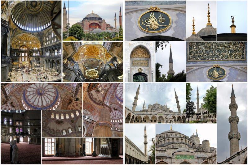 Edifícios Istambul da colagem foto de stock