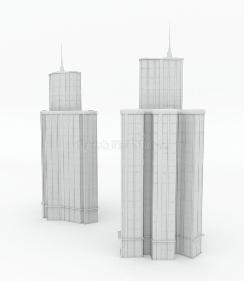 Edifícios modernos, modelos brancos da torre ilustração do vetor