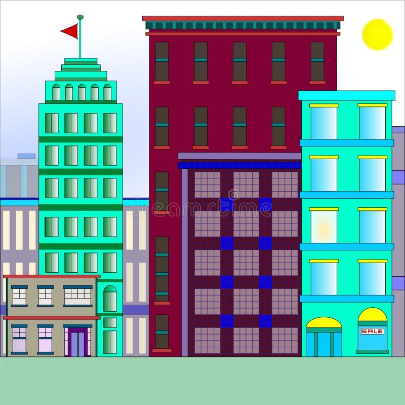 Edifícios na cidade ilustração stock