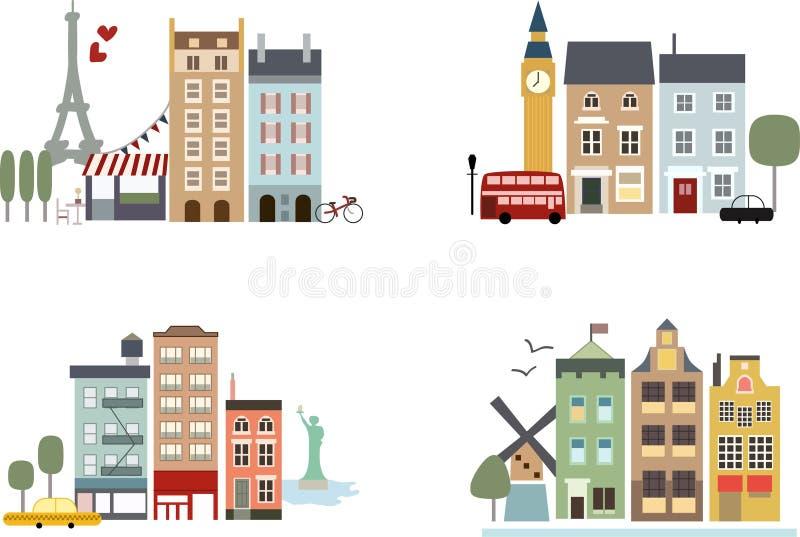 Edifícios simples das cidades grandes com marcos ilustração royalty free