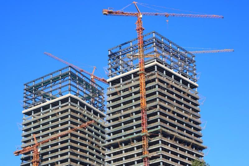 Edifícios sob a construção fotografia de stock