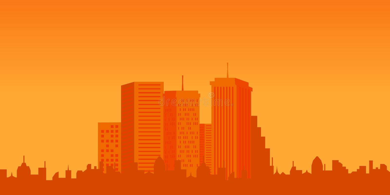 Edifícios urbanos no por do sol ilustração do vetor
