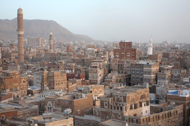 Edifícios velhos de Sanaa imagens de stock
