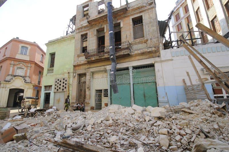 Edifice in ruins. HAVANA - 9 JULY, 2010. stock photos
