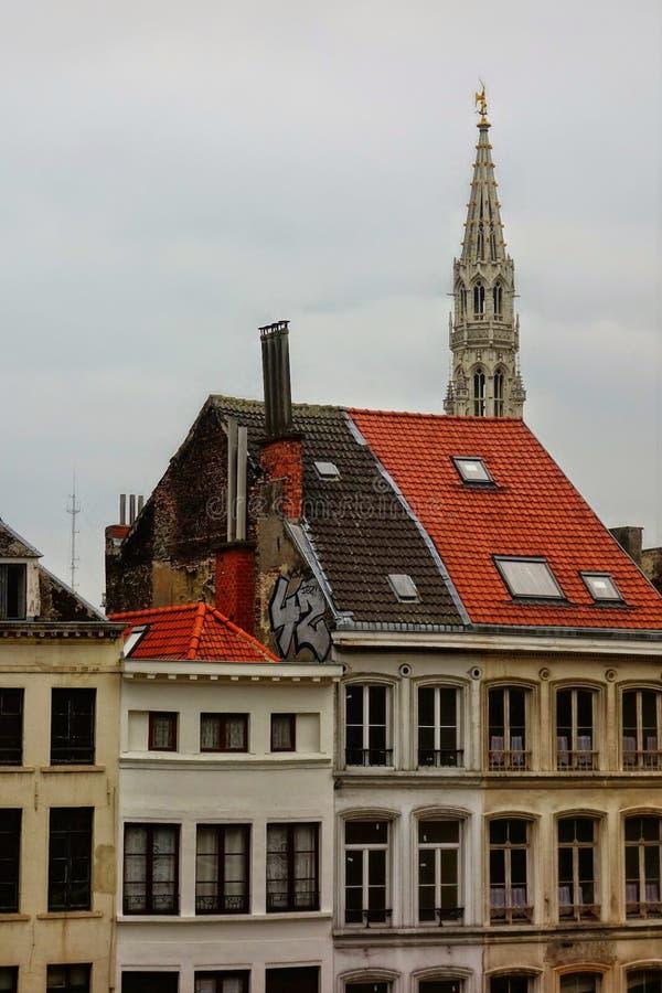 Edifici di Bruxelles, Belgio un giorno grigio immagine stock libera da diritti