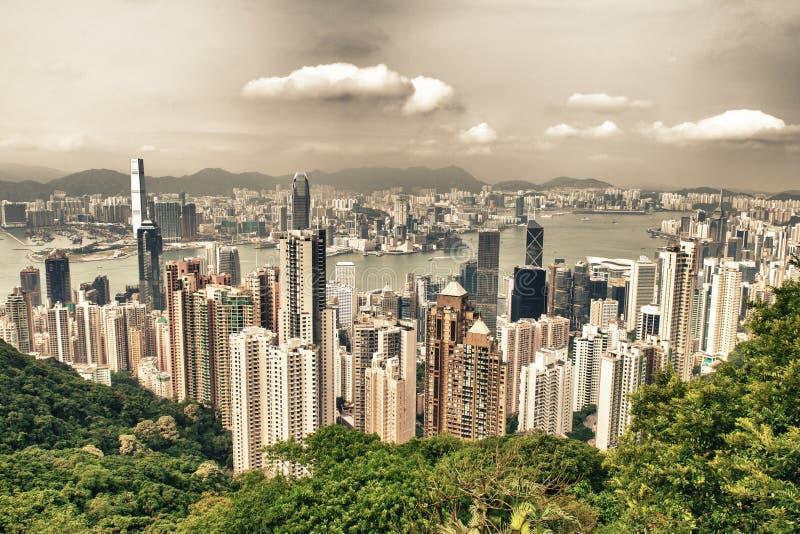 Edifici di Kowloon e di Hong Kong Vista aerea dei grattacieli sulla a immagine stock