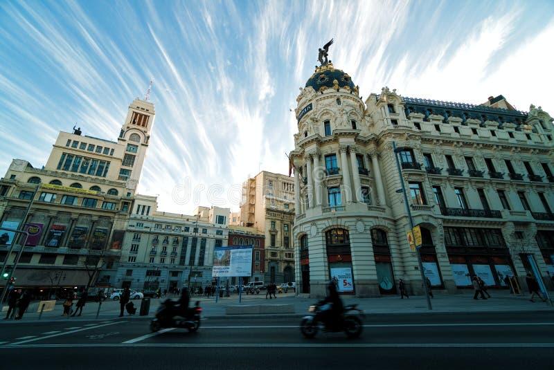 Edifici di Metropolis e Círculo de Bellas Artes fotografia stock libera da diritti