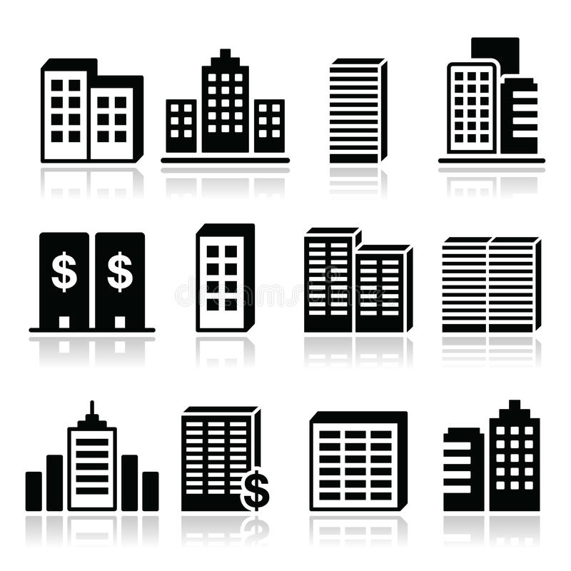 Edifici per uffici, icone del centro di affari messe royalty illustrazione gratis