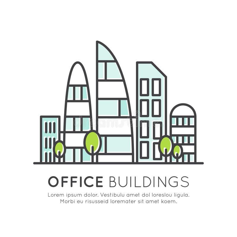 Edifici per uffici moderni, grattacielo, città di vetro illustrazione di stock