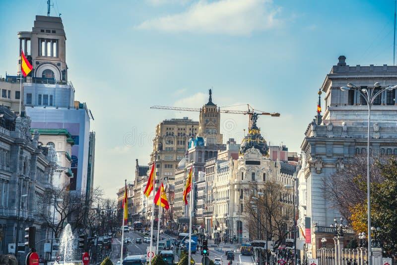 Edifici storici del centro di Madrid fotografia stock libera da diritti