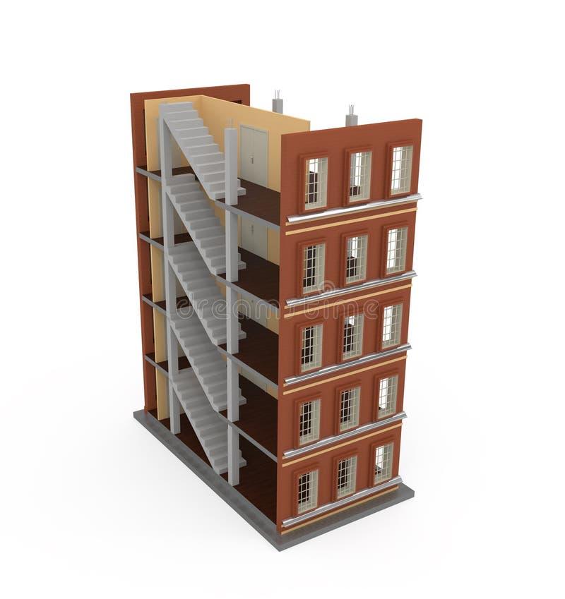 edificio 3d en blanco ilustración del vector