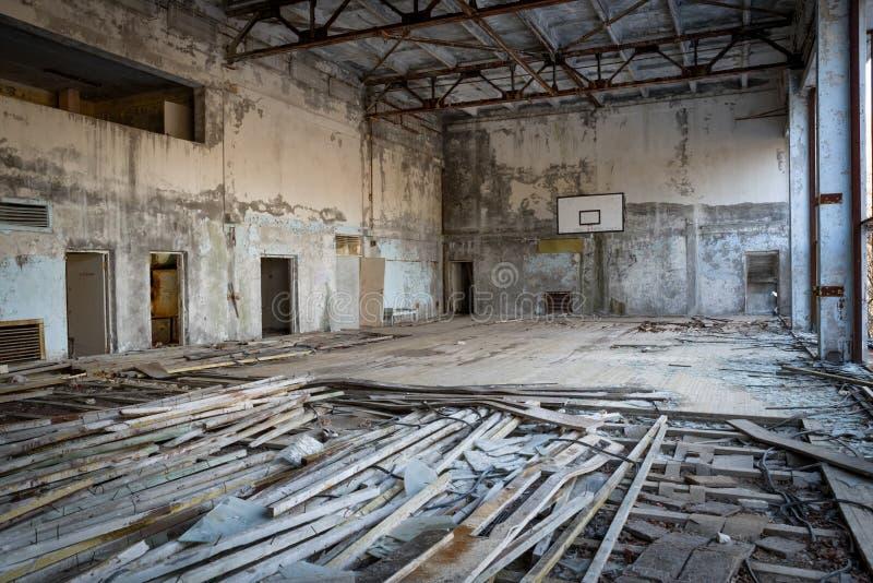 Edificio abandonado en la zona de exclusión de Chernobyl, Ucrania fotos de archivo libres de regalías