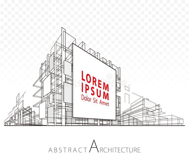 Edificio abstracto de la cartelera de la arquitectura stock de ilustración