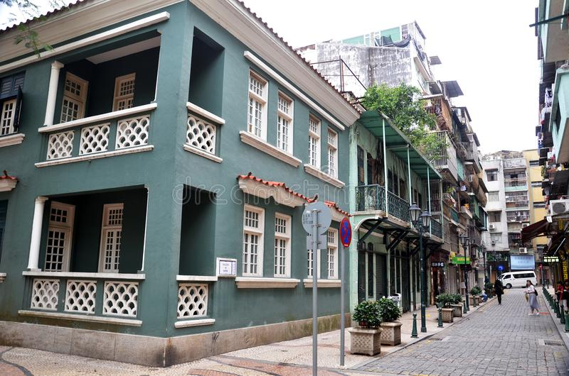 Edificio Administrativo Robi museu Maritimo w Macau, zdjęcia stock