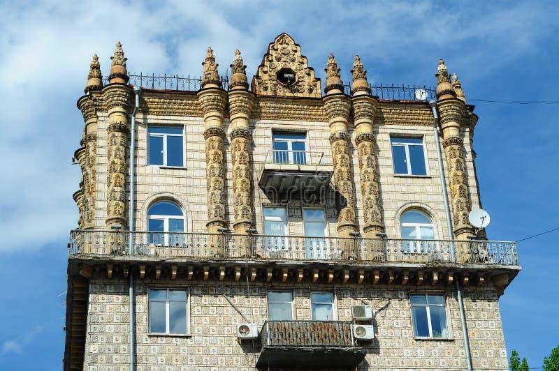 Edificio adornado hermoso en estilo clásico en Khreschatyk, Kiev foto de archivo libre de regalías