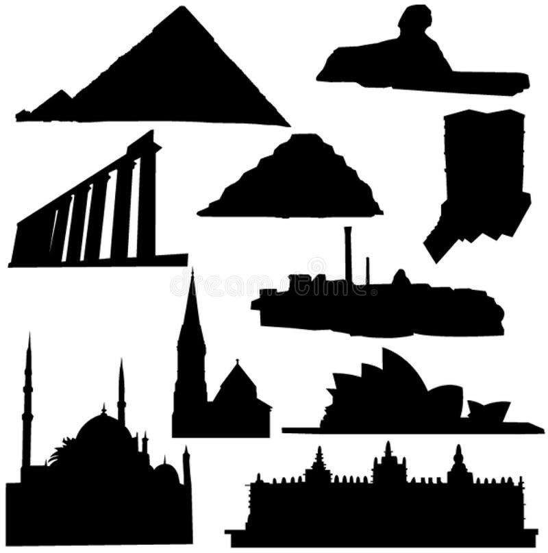 Edificio africano y australiano stock de ilustración