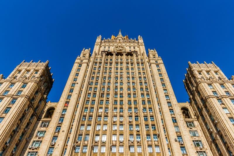 Edificio alto del ministero degli affari esteri, Mosca, Russia immagini stock libere da diritti