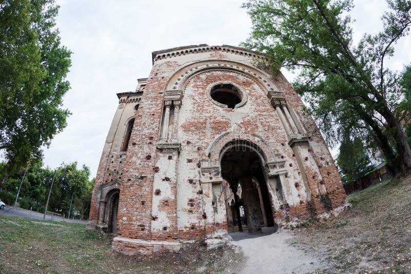 Edificio arruinado viejo de la sinagoga en Vidin, Bulgaria fotografía de archivo