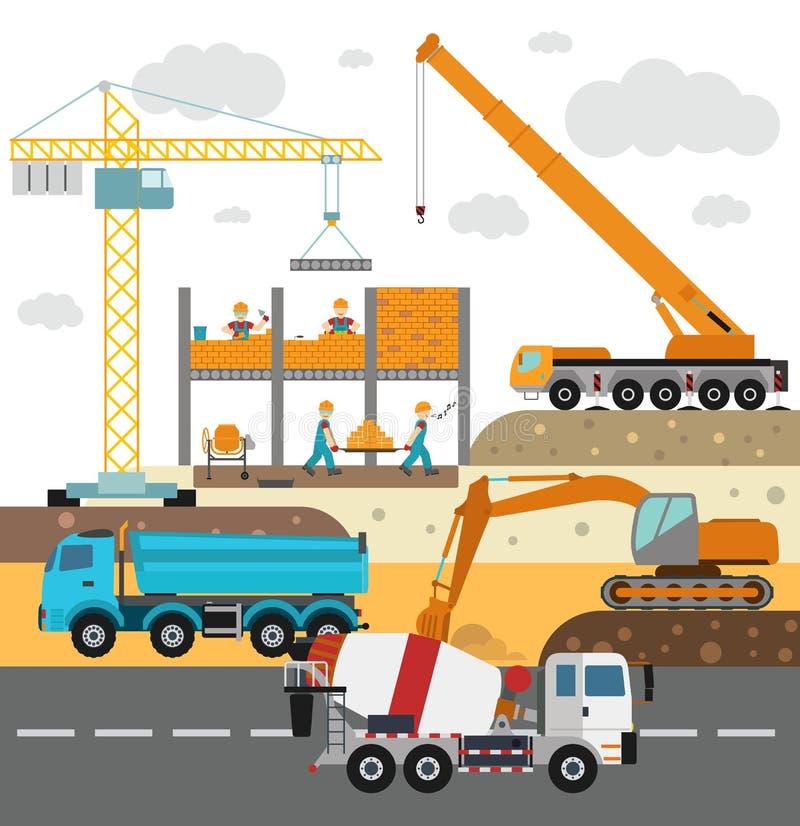Edificio bajo construcción, trabajadores y libre illustration