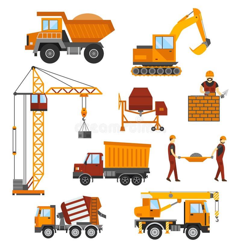 Edificio bajo construcción, trabajadores y ilustración del vector