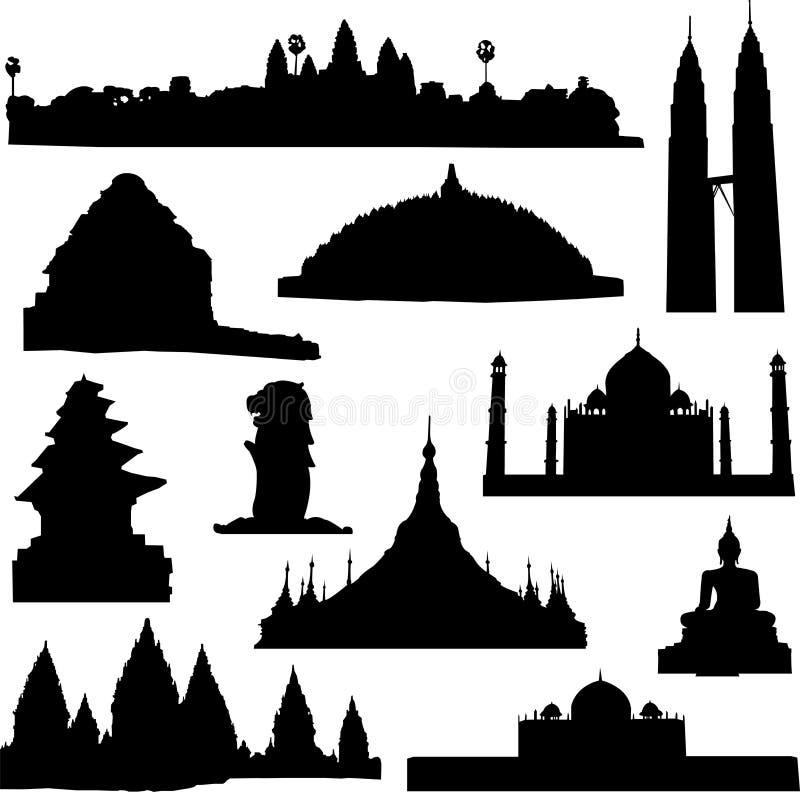 Edificio bien conocido en Asia ilustración del vector