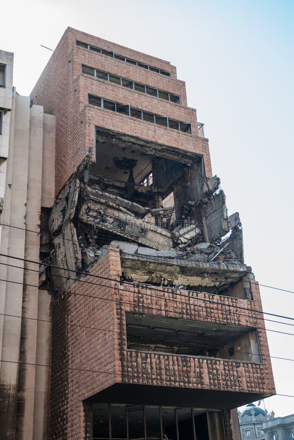 Edificio bombardeado en Belgrado imagen de archivo libre de regalías