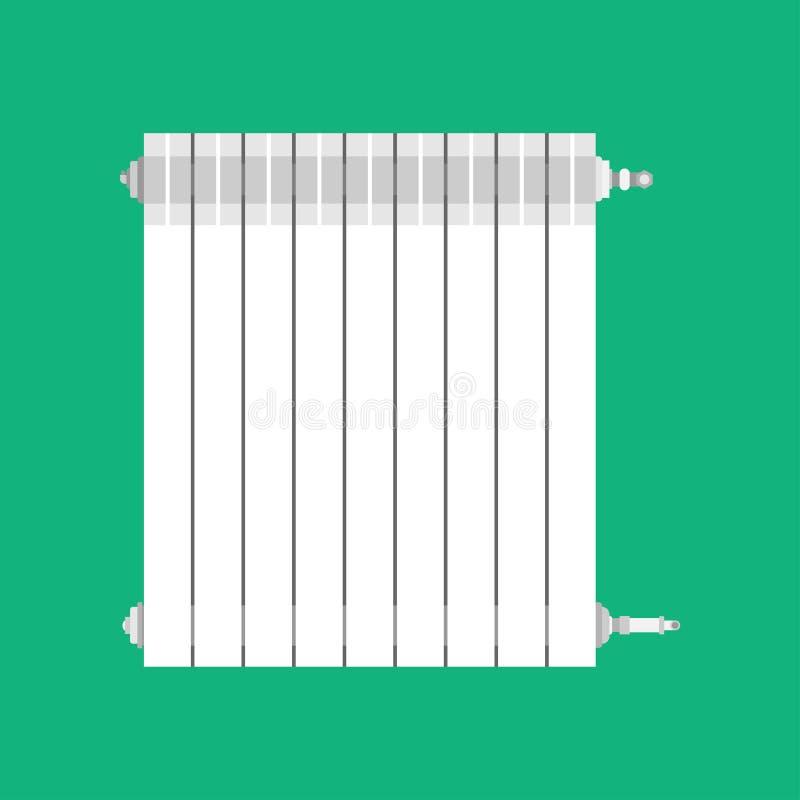 Edificio caliente plano blanco de calefacción del tubo de la industria de la batería Eco del icono del vector del calentador de s libre illustration