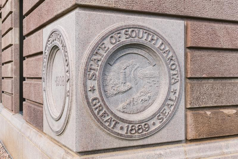 Edificio capital de Dakota del Sur del sello del estado foto de archivo