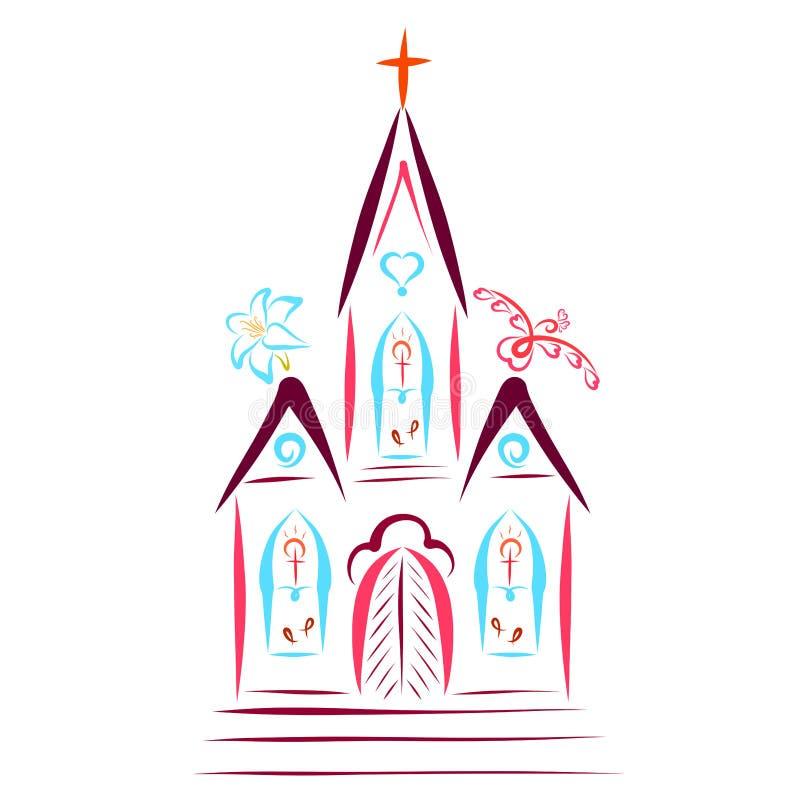 Edificio colorido de una iglesia cristiana, con una cruz, un pájaro libre illustration