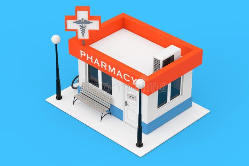 Edificio comercial de la droguería de la farmacia como icono plano representación 3d stock de ilustración