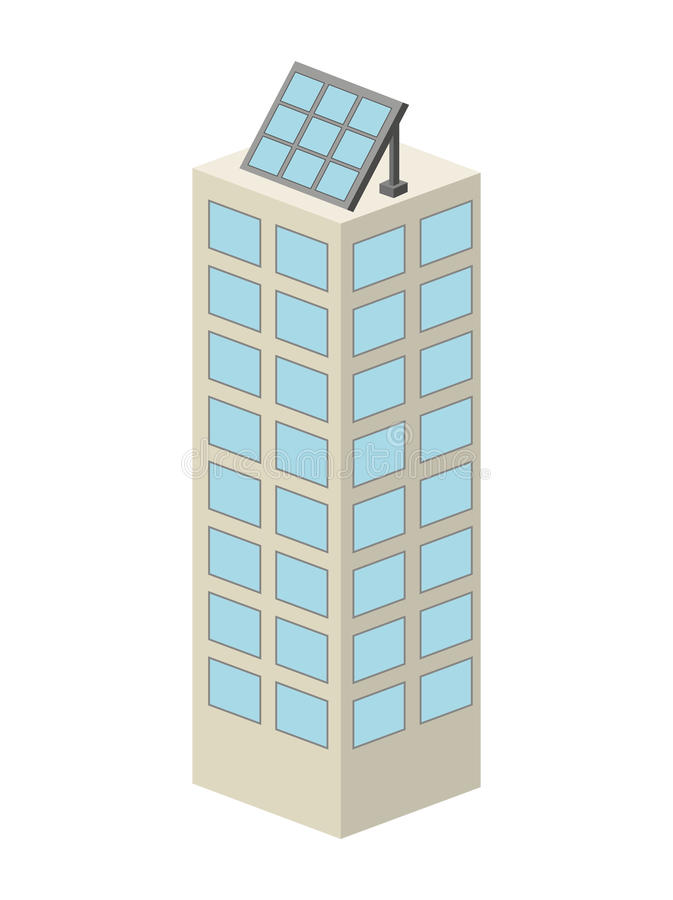 edificio con diseño aislado solar del icono del panel libre illustration