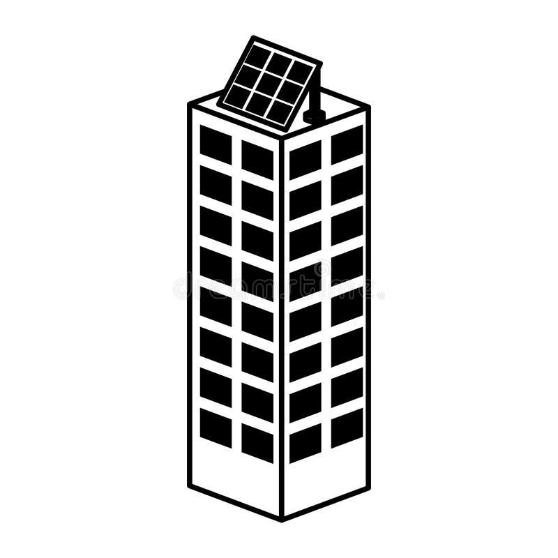 edificio con el icono aislado silueta solar del panel stock de ilustración