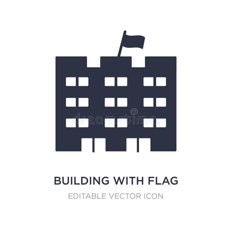 edificio con el icono de la bandera en el fondo blanco Ejemplo simple del elemento del concepto de los edificios stock de ilustración