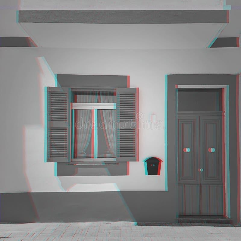 Edificio con la puerta y la ventana y el efecto de la interferencia de la señal numérica fotografía de archivo