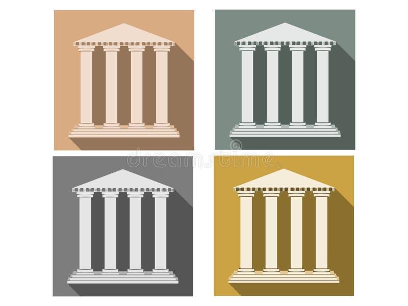 Edificio con las columnas Sistema de iconos en un estilo plano columna Estilo dórico, romano ilustración del vector
