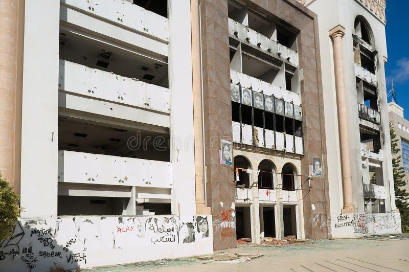 Edificio constitucional Democratic del partido de la reunión arruinado durante la primavera árabe en Sfax, Túnez fotos de archivo libres de regalías