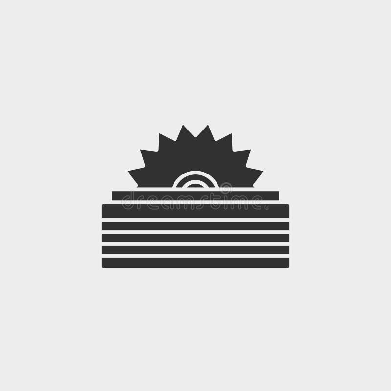 Edificio, construcción, industria, sierra, icono, símbolo aislado ejemplo plano de la muestra del vector - negro del vector del i libre illustration