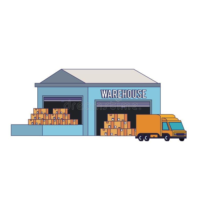 Edificio de almacenamiento de Warehouse con las líneas azules de la mercancía stock de ilustración