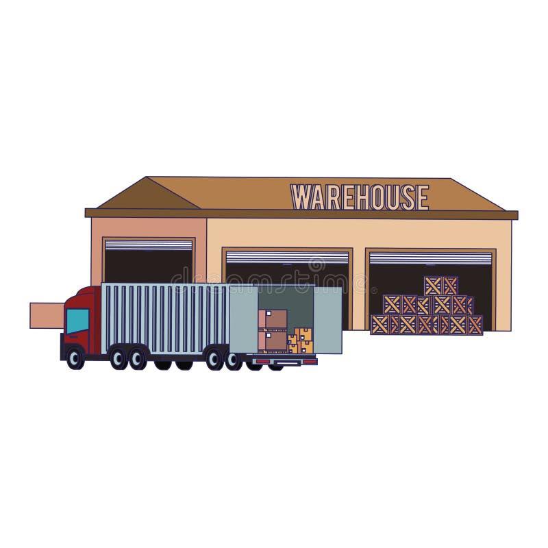 Edificio de almacenamiento de Warehouse con las líneas azules de la mercancía ilustración del vector