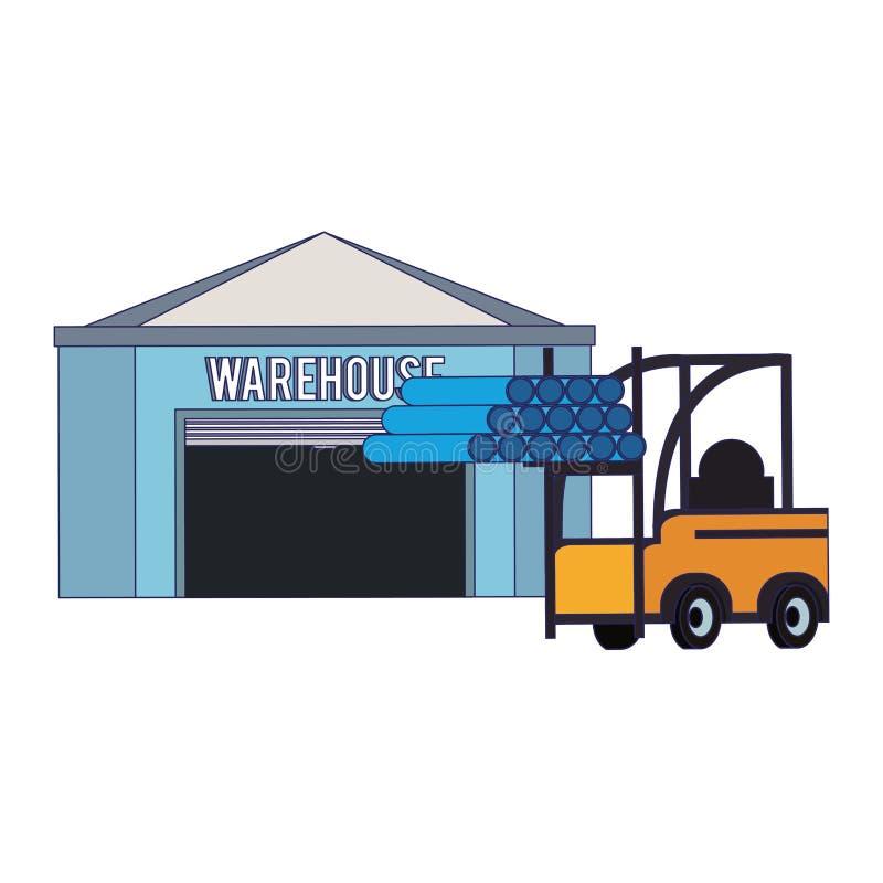 Edificio de almacenamiento de Warehouse con las líneas azules de la mercancía libre illustration