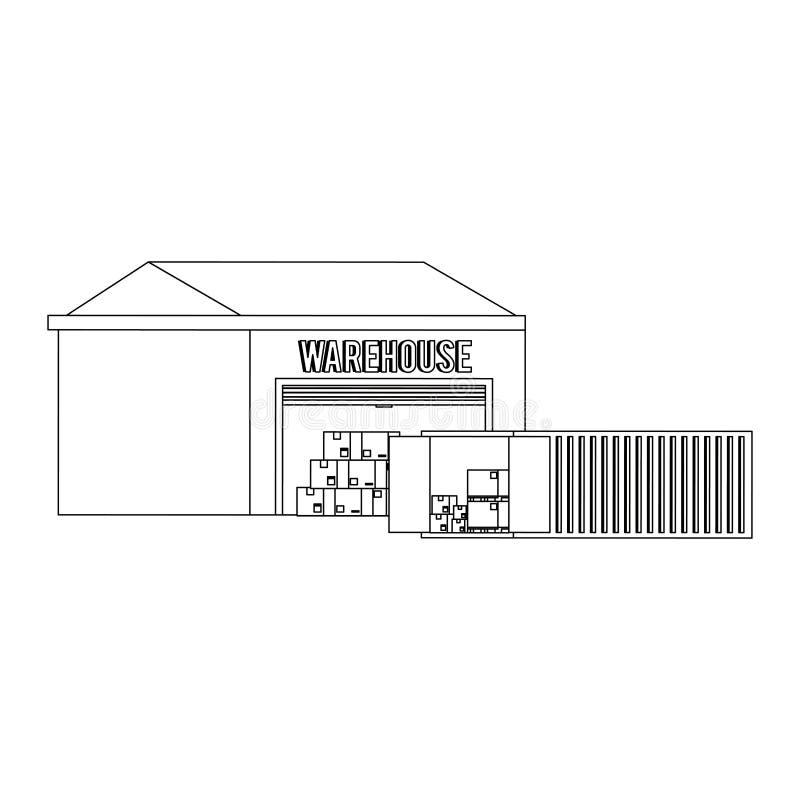 Edificio de almacenamiento de Warehouse con mercancía en blanco y negro stock de ilustración