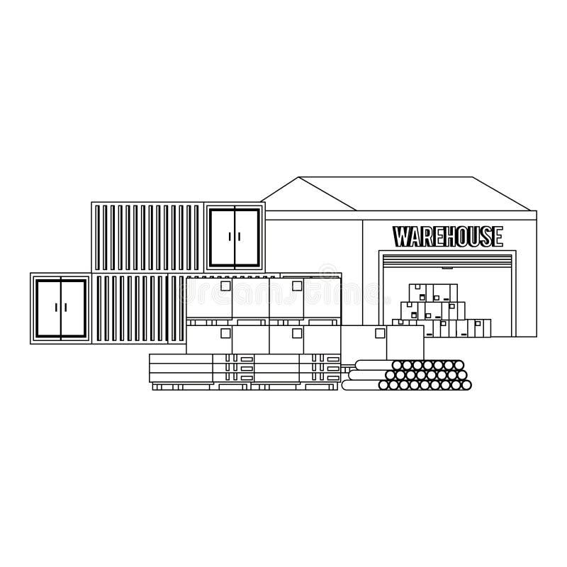 Edificio de almacenamiento de Warehouse con mercancía en blanco y negro libre illustration