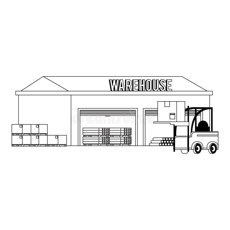 Edificio de almacenamiento de Warehouse con mercancía en blanco y negro ilustración del vector