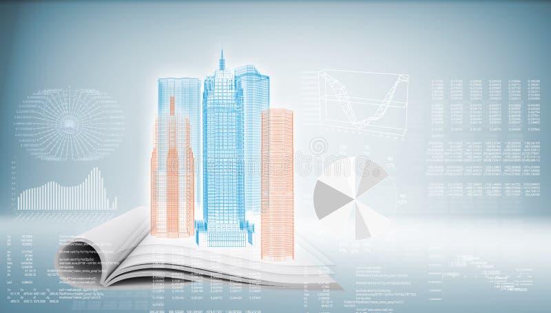 Edificio de alta tecnología en fondo azul libre illustration
