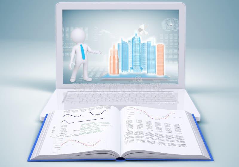Edificio de alta tecnología en pantalla del ordenador portátil y libro abierto libre illustration
