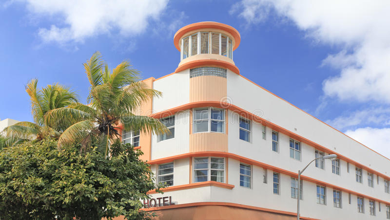 Edificio de Art Deco en la impulsión del océano, Miami Beach fotos de archivo