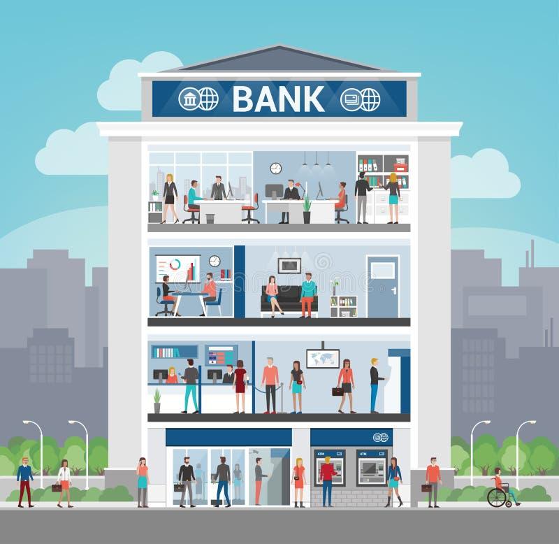 Edificio de banco stock de ilustración