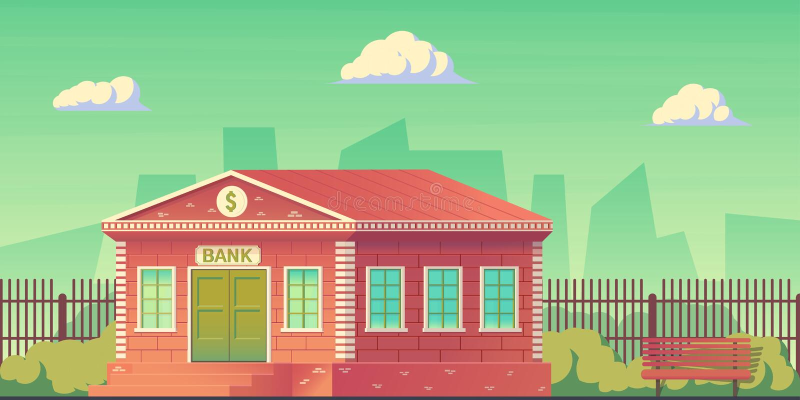 Edificio de banco en la ciudad Edificio de banco para servir el público y para conducir operaciones financieras y de crédito Vect stock de ilustración